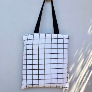 black and white cotton canvas check tote bag hunter and the fox