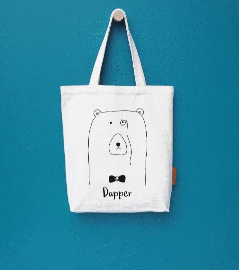 Dapper bear 100% cotton tote hunter and the fox