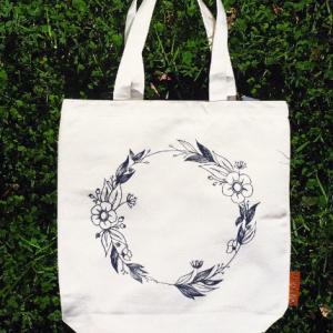 flower wreath 100% cotton tote hunter and the fox