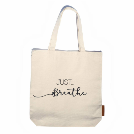 just breathe 100% cotton tote hunter and the fox