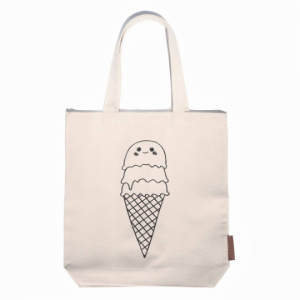 ice cream cone 100% cotton tote hunter and the fox