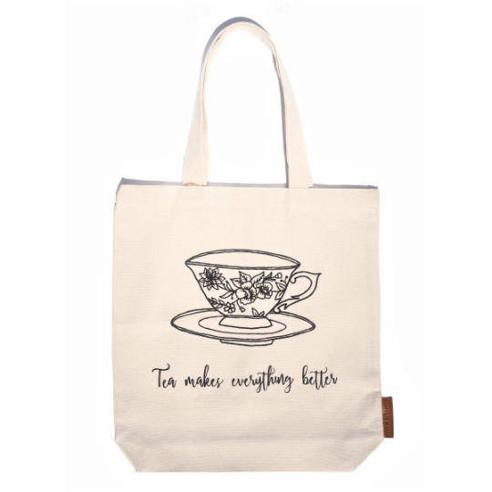 tea makes everything better 100% cotton tote hunter and the fox