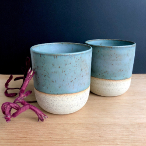 Set of 2 Handmade ceramic stoneware cups in turquoise hunter and the fox