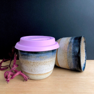Handmade Ceramics Australia - handmade ceramic keep cup midnight hunter and the fox