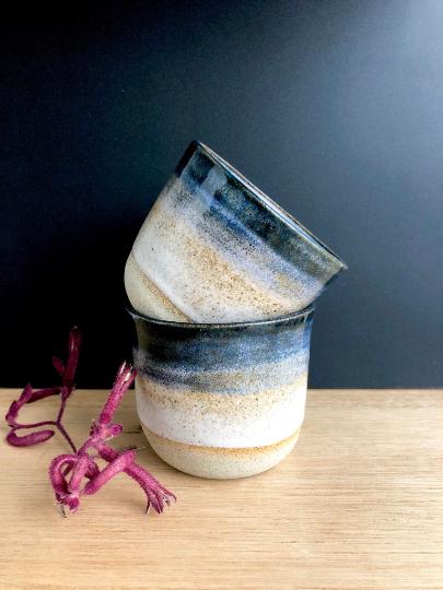 Handmade Ceramics Australia - handmade ceramic keep cup midnight hunter and the fox