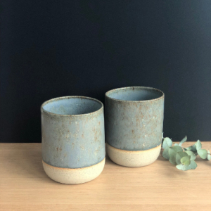 Handmade Ceramics Australia - Set of 2 Handmade ceramic stoneware cups in duck egg hunter and the fox