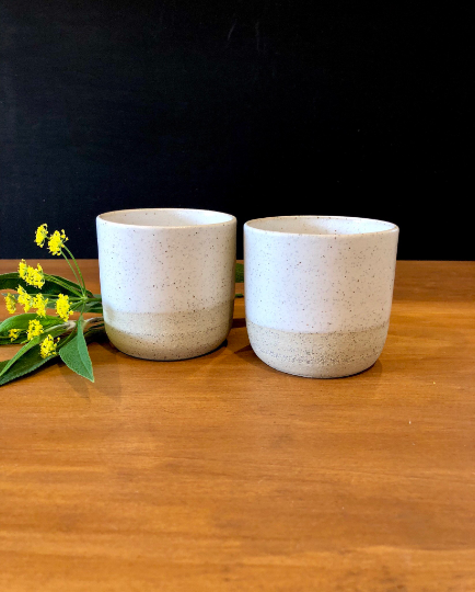 Set of 2 Handmade ceramic cups in buff speckle and white